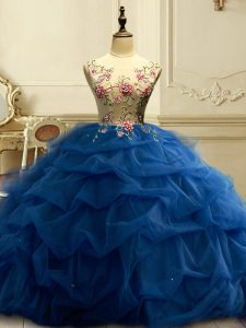 Best Selling Floor Length Navy Blue Ball Gown Prom Dress Scoop Sleeveless Lace Up