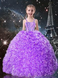 Admirable Lilac Sleeveless Organza Lace Up Little Girls Pageant Gowns for Quinceanera and Wedding Party