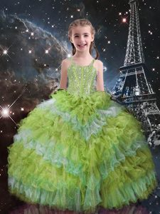 Yellow Green Ball Gowns Straps Sleeveless Organza Floor Length Lace Up Beading and Ruffled Layers Pageant Gowns For Girls