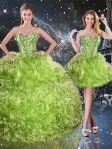 Three Pieces Quinceanera Gown Olive Green Sweetheart Organza Sleeveless Floor Length Lace Up