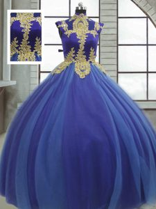 Modest High-neck Sleeveless Lace Up Quinceanera Gown Royal Blue Tulle