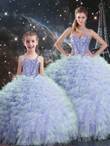 Exquisite Sleeveless Lace Up Floor Length Beading and Ruffles 15 Quinceanera Dress