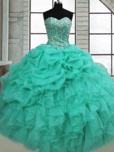 Turquoise Sweetheart Lace Up Beading and Ruffles and Pick Ups Quinceanera Gowns Sleeveless