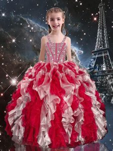 Custom Designed Wine Red Straps Lace Up Beading and Ruffles Little Girl Pageant Gowns Sleeveless