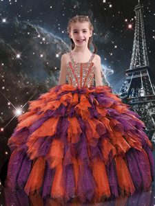Tulle Sleeveless Floor Length Pageant Gowns For Girls and Beading and Ruffles