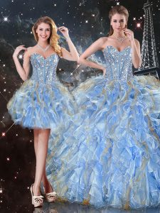 Comfortable Sweetheart Sleeveless Lace Up Quinceanera Gown Light Blue Organza