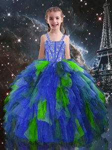Modern Blue Ball Gowns Beading and Ruffles Little Girl Pageant Gowns Lace Up Tulle Sleeveless Floor Length