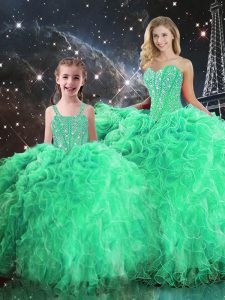 Floor Length Ball Gowns Sleeveless Green Vestidos de Quinceanera Lace Up