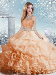 Simple Organza Sleeveless Floor Length Ball Gown Prom Dress and Beading and Ruffles and Pick Ups