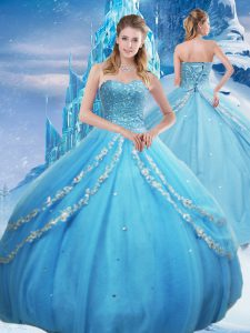 Baby Blue Sweetheart Neckline Beading and Appliques and Sequins Sweet 16 Quinceanera Dress Sleeveless Lace Up