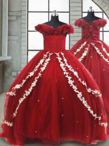 New Arrival Wine Red Sleeveless Brush Train Appliques Little Girls Pageant Dress Wholesale