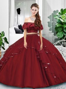 Two Pieces Quinceanera Dresses Burgundy Off The Shoulder Tulle Sleeveless Floor Length Lace Up