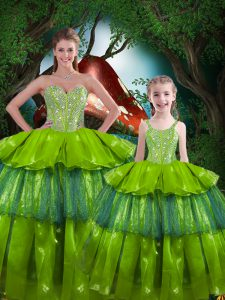 Organza Sweetheart Sleeveless Lace Up Beading and Ruffled Layers Sweet 16 Quinceanera Dress in Olive Green
