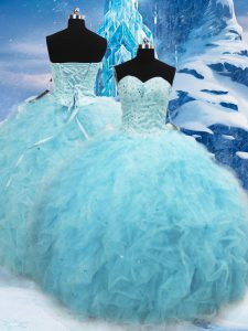 Ideal Floor Length Lace Up Quinceanera Gowns Aqua Blue for Military Ball and Sweet 16 and Quinceanera with Beading and Pick Ups