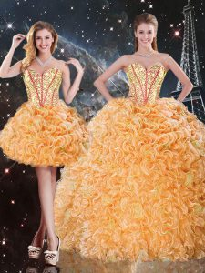 Orange Three Pieces Sweetheart Sleeveless Organza Floor Length Lace Up Beading and Ruffles Sweet 16 Quinceanera Dress