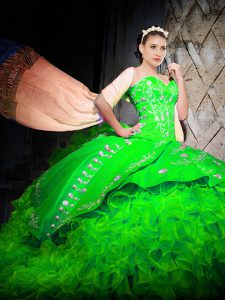 Charming Green Quinceanera Dresses Military Ball and Sweet 16 and Quinceanera with Embroidery and Ruffles Sweetheart Sleeveless Brush Train Lace Up