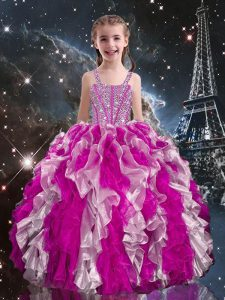 Dramatic Organza Straps Sleeveless Lace Up Beading and Ruffles Little Girl Pageant Gowns in Fuchsia