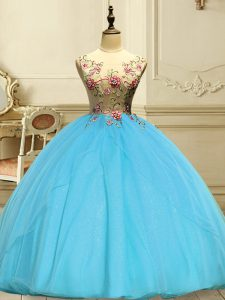Scoop Sleeveless Organza Sweet 16 Dresses Appliques Lace Up