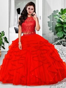 Top Selling Lace and Ruffles Quinceanera Dresses Red Zipper Sleeveless Floor Length