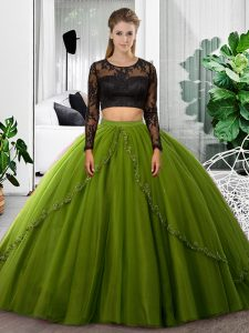 High Class Olive Green Tulle Backless Scoop Long Sleeves Floor Length 15th Birthday Dress Lace and Ruching
