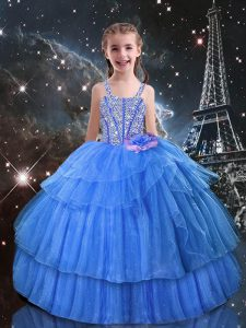 Organza Straps Sleeveless Lace Up Beading and Ruffled Layers Kids Formal Wear in Light Blue