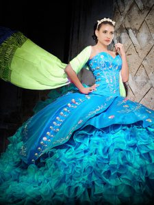 Baby Blue Organza Lace Up Sweetheart Sleeveless Sweet 16 Quinceanera Dress Brush Train Embroidery and Ruffles