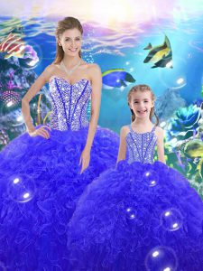 Adorable Sweetheart Sleeveless Lace Up Sweet 16 Quinceanera Dress Royal Blue Organza