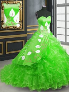 Nice Embroidery Sweet 16 Quinceanera Dress Green Lace Up Sleeveless Brush Train