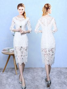 Unique 3 4 Length Sleeve Zipper Tea Length Lace Vestidos de Damas