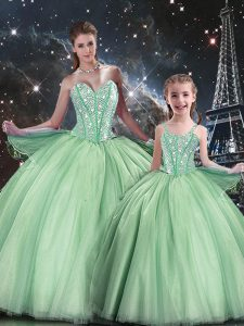 Floor Length Apple Green Quinceanera Gown Tulle Sleeveless Beading