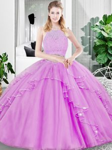 Admirable Scoop Sleeveless Quinceanera Dresses Floor Length Lace and Ruffled Layers Lilac Tulle