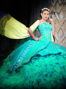 Gorgeous Sleeveless Organza With Brush Train Lace Up 15th Birthday Dress in Turquoise with Embroidery and Ruffles