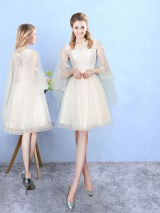 Elegant Square Half Sleeves Tulle Quinceanera Court Dresses Lace Lace Up