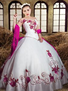 White Sleeveless Taffeta Lace Up Quinceanera Gown for Military Ball and Sweet 16 and Quinceanera