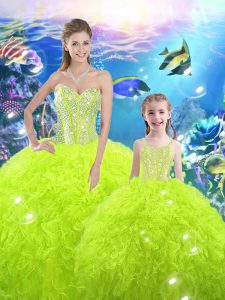 Fabulous Yellow Green Lace Up Sweetheart Beading and Ruffles Quinceanera Gown Organza Sleeveless