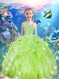 Sleeveless Organza Floor Length Lace Up Pageant Gowns For Girls in Yellow Green with Beading and Ruffles