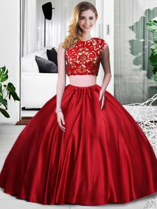 Floor Length Zipper Quince Ball Gowns Wine Red for Military Ball and Sweet 16 and Quinceanera with Lace and Ruching