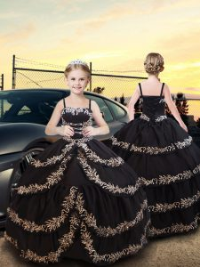 Black Lace Up Spaghetti Straps Embroidery and Ruffled Layers Little Girl Pageant Gowns Taffeta Sleeveless