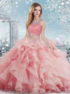 On Sale Baby Pink Ball Gowns Beading and Ruffles Sweet 16 Dresses Clasp Handle Satin Sleeveless Floor Length