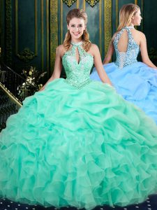 Gorgeous Sleeveless Organza Floor Length Lace Up 15 Quinceanera Dress in Apple Green with Beading and Ruffles and Pick Ups