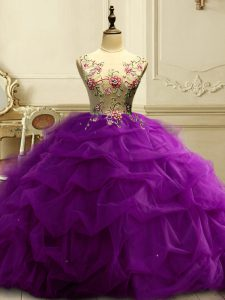 Fashion Appliques and Ruffles and Sequins Quinceanera Dress Purple Lace Up Sleeveless Floor Length