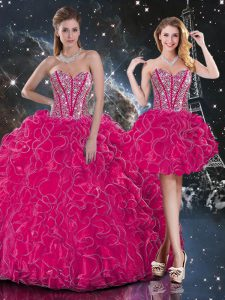 Unique Sweetheart Sleeveless Ball Gown Prom Dress Floor Length Beading and Ruffles Hot Pink Organza