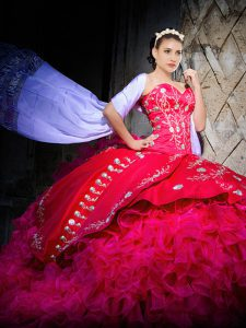 Smart Hot Pink Sweetheart Lace Up Embroidery and Ruffles Quinceanera Gown Brush Train Sleeveless