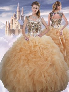 Discount Floor Length Ball Gowns Sleeveless Champagne Vestidos de Quinceanera Lace Up