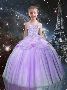 Lilac Tulle Lace Up Straps Sleeveless Floor Length Little Girl Pageant Gowns Beading