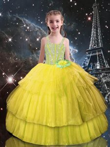 Light Yellow Ball Gowns Tulle Straps Sleeveless Beading and Ruffled Layers Floor Length Lace Up Little Girl Pageant Dress