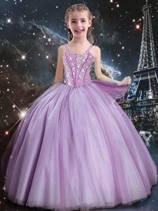 Excellent Lilac Ball Gowns Tulle Straps Sleeveless Beading Floor Length Lace Up Child Pageant Dress