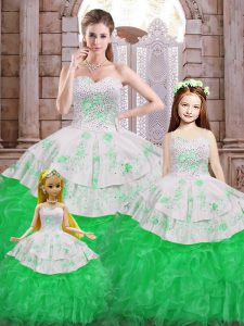 Floor Length Green Sweet 16 Dress Sweetheart Sleeveless Lace Up
