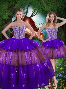 New Style Sleeveless Floor Length Beading and Ruffled Layers and Sequins Lace Up Sweet 16 Quinceanera Dress with Multi-color