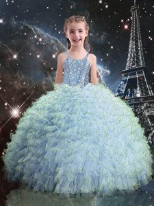 Organza Sleeveless Floor Length Kids Pageant Dress and Beading and Ruffles